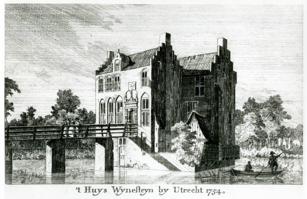 Kasteel Wijnestein in Jutphaas. Tekening Jan de Beijer, 1754